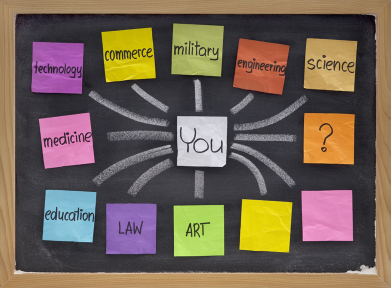 Bulletin board with sticky notes of career options