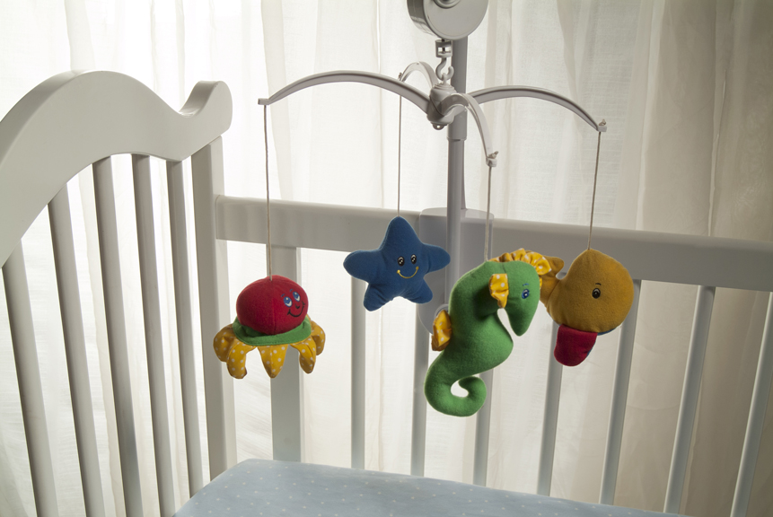 Crib with mobile of sea animals