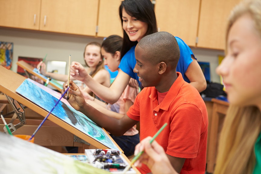 Teenagers in art class painting
