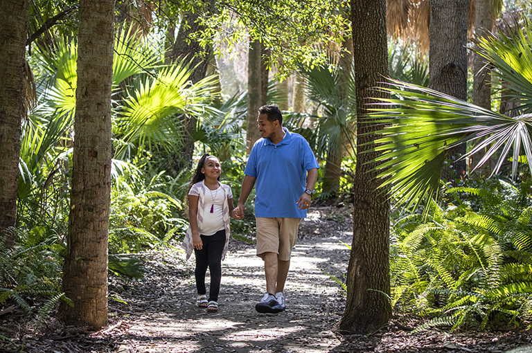 Father and daughter walking through trees in Palm Beach County